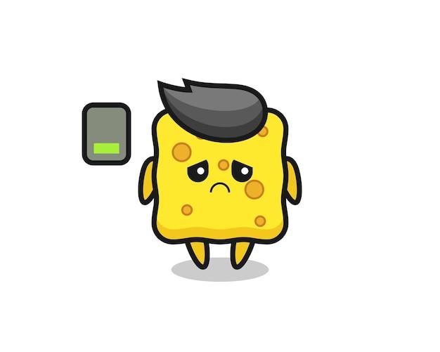 Personagem de mascote esponja fazendo um gesto cansado, design de estilo fofo para camiseta, adesivo, elemento de logotipo