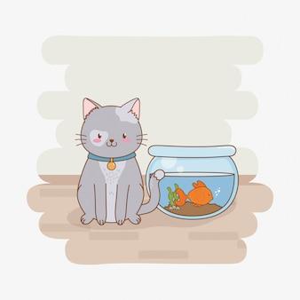 Personagem de mascote gatinho fofo