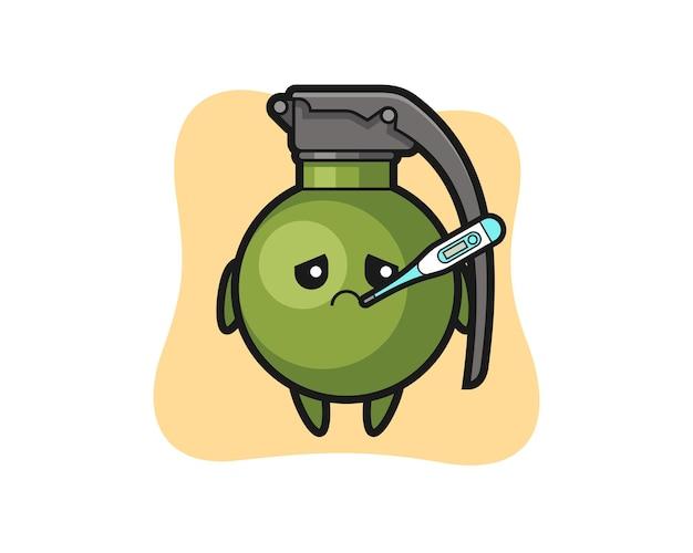 Personagem de mascote granada com quadro de febre, design de estilo fofo para camiseta, adesivo, elemento de logotipo