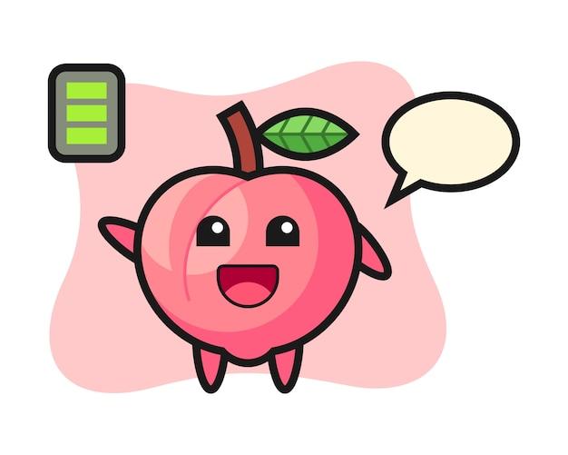 Personagem de mascote pêssego com gesto energético, design de estilo bonito para camiseta