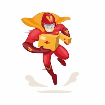 Personagem de mascote super-herói carregando pacote para empresa de entrega expressa de correio no vetor de ilustração plana dos desenhos animados isolado