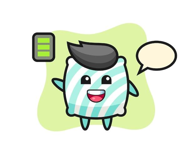 Personagem de mascote travesseiro com gesto enérgico, design de estilo fofo para camiseta, adesivo, elemento de logotipo