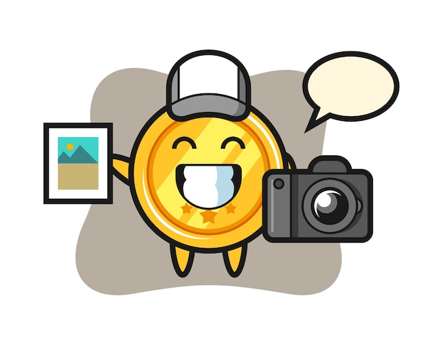 Personagem de medalha como fotógrafo