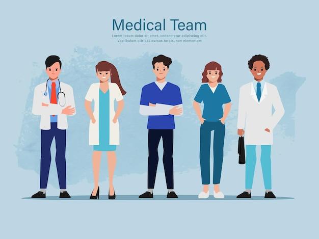 Personagem de médico animação de médicos em hospitais