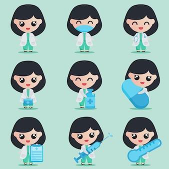 Personagem de médico de garota fofa com elementos médicos em conjunto
