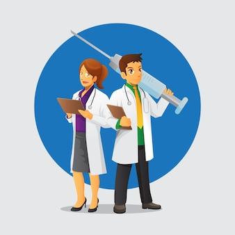 Personagem de médicos de casal fofo com seringa gigante