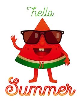 Personagem de melancia de verão