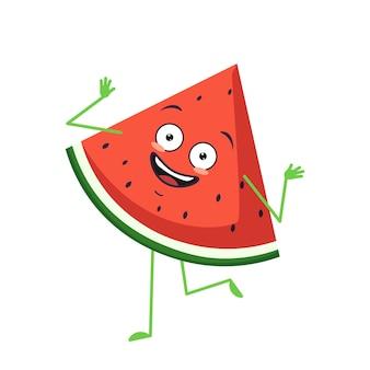 Personagem de melancia fofa alegre com emoções dançando, braços e pernas