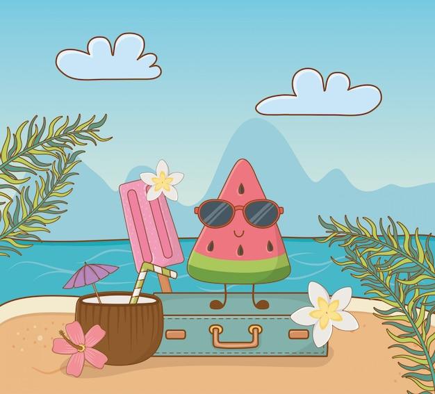 Personagem de melancia tropical na cena da praia