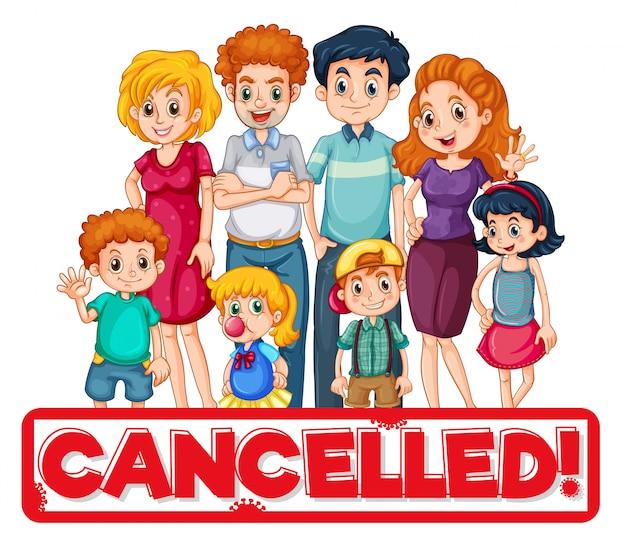 Personagem de membro da família com texto cancelado