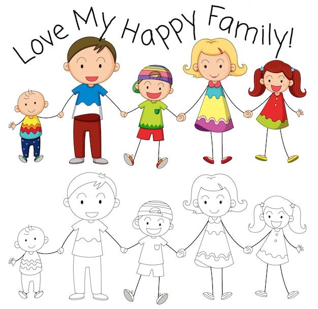 Personagem de membro da família doodle