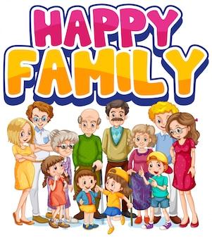 Personagem de membro da família feliz