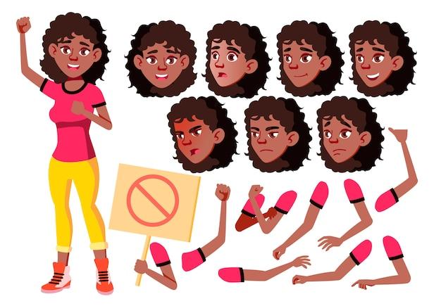 Personagem de menina adolescente. africano. construtor de criação para animação. emoções de rosto, mãos.