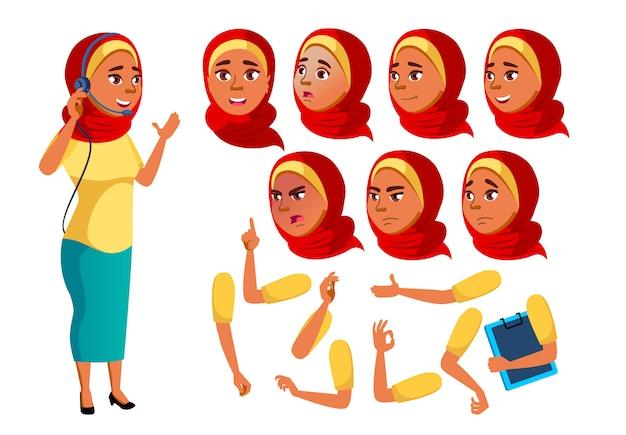 Personagem de menina adolescente. árabe. construtor de criação para animação. emoções de rosto, mãos.