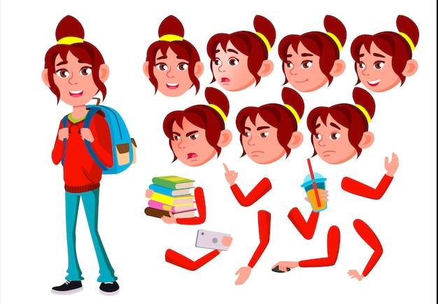Personagem de menina adolescente. europeu. construtor de criação para animação. emoções de rosto, mãos.