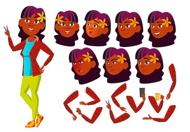 Personagem de menina adolescente. indiano. construtor de criação para animação. emoções de rosto, mãos.