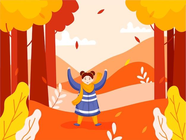 Personagem de menina alegre, levantando as mãos na vista da natureza ou no fundo do jardim.