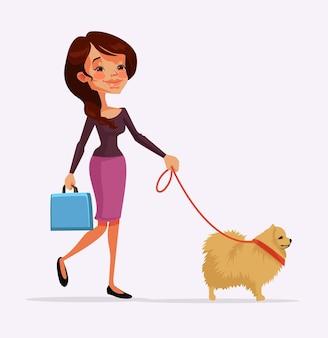 Personagem de menina andando com personagem de cachorro. desenho animado