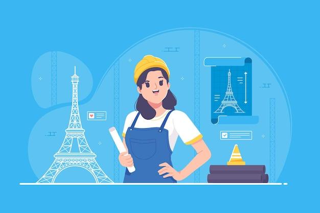 Personagem de menina arquiteta trabalhando em seu projeto