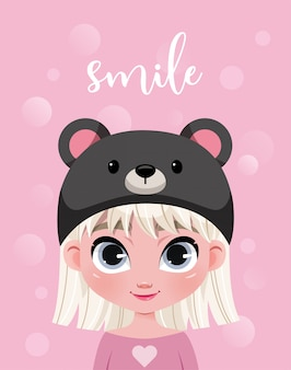 Personagem de menina bonitinha no chapéu em fundo rosa com bokeh