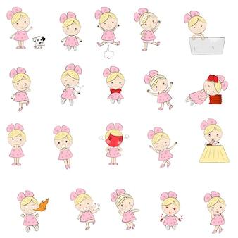Personagem de menina bonito dos desenhos animados muitos emotiona e ações