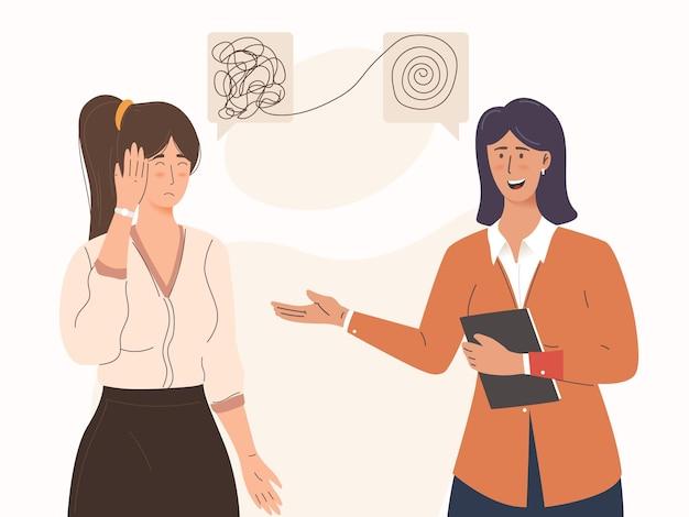 Personagem de menina com depressão e uma consulta sobre transtornos mentais com psicoterapeuta