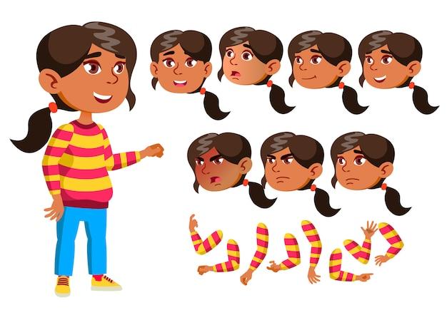 Personagem de menina criança. árabe. construtor de criação para animação. emoções de rosto, mãos.