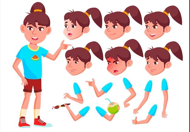 Personagem de menina criança. europeu. construtor de criação para animação. emoções de rosto, mãos.
