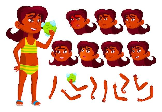 Personagem de menina criança. indiano. construtor de criação para animação. emoções de rosto, mãos.