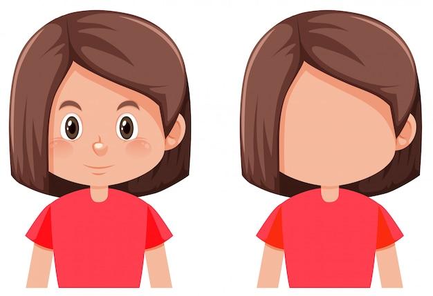 Personagem de menina de cabelo de bob