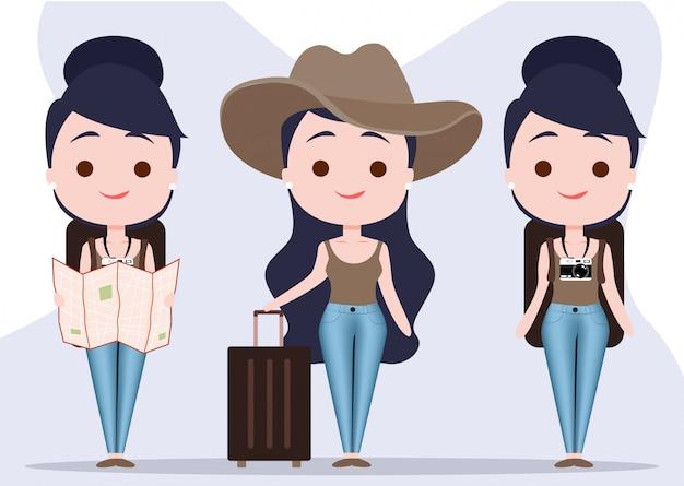 Personagem de menina de viagens