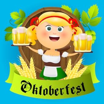 Personagem de menina dos desenhos animados oktoberfest com cerveja