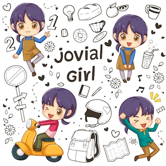 Personagem de menina e doodle