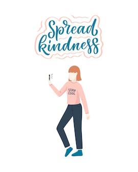 Personagem de menina em estilo simples de desenho animado com slogan letras positivas.