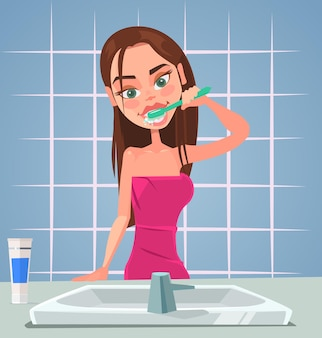 Personagem de menina escovando os dentes. ilustração em vetor plana dos desenhos animados