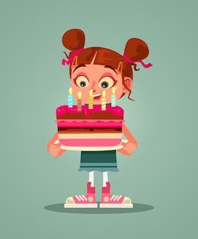 Personagem de menina feliz e sorridente segurando bolo com vela e fazendo desejos