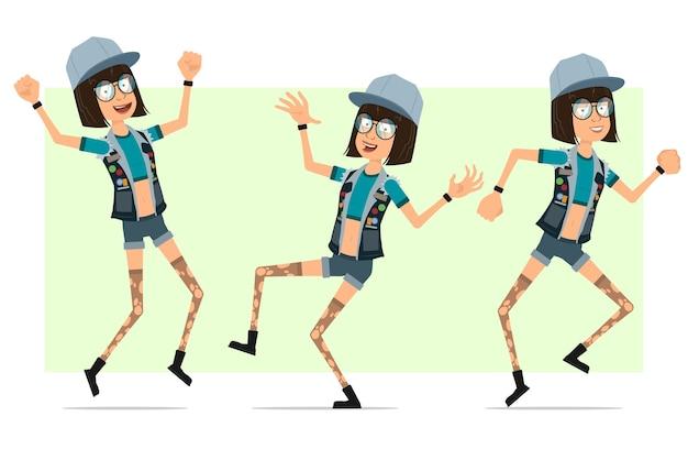 Personagem de menina plana engraçado hipster dos desenhos animados em boné de caminhoneiro, óculos e shorts jeans. linda garota pulando e dançando.
