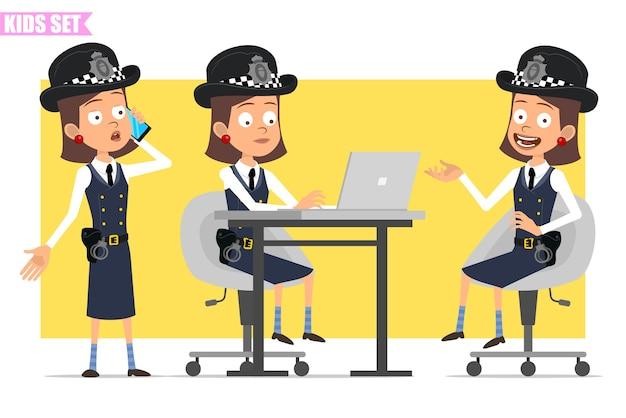 Personagem de menina policial britânico plana engraçado dos desenhos animados com chapéu e uniforme do capacete. garota descansando, falando no telefone e trabalhando no laptop.