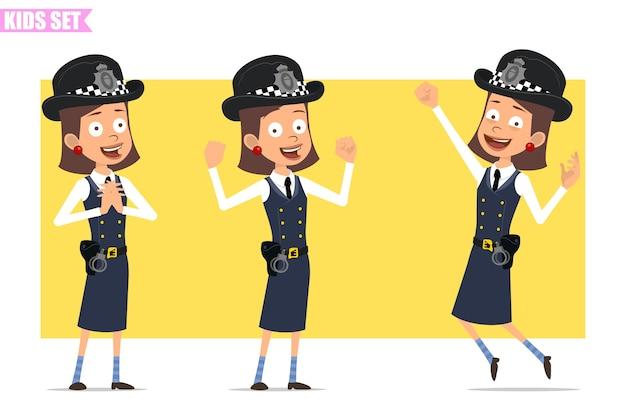 Personagem de menina policial britânico plana engraçado dos desenhos animados com chapéu e uniforme do capacete. garota em pé, pulando e mostrando os músculos.