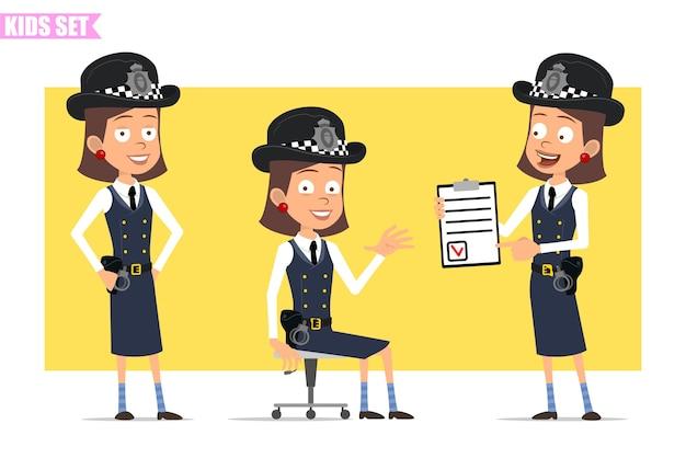 Personagem de menina policial britânico plana engraçado dos desenhos animados com chapéu e uniforme do capacete. garota posando, sentado e mostrando a lista com a marca.