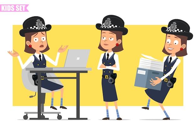 Personagem de menina policial britânico plana engraçado dos desenhos animados com chapéu e uniforme do capacete. garota trabalhando no laptop e carregando a caixa de papéis.