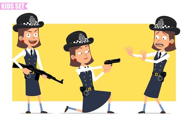 Personagem de menina policial britânico plana engraçado dos desenhos animados com chapéu e uniforme do capacete. menina assustada, atirando com uma pistola e segurando um rifle.