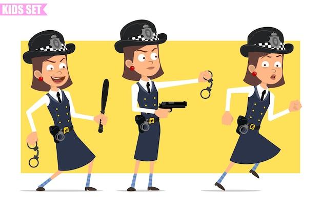 Personagem de menina policial britânico plana engraçado dos desenhos animados com chapéu e uniforme do capacete. menina correndo e segurando a pistola, bastão, algemas.