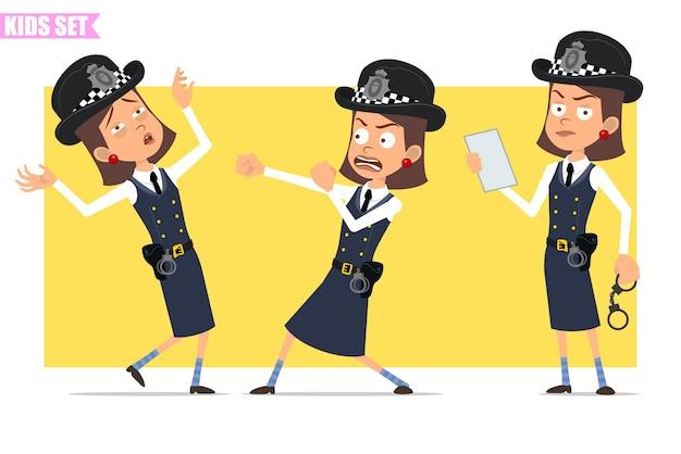 Personagem de menina policial britânico plana engraçado dos desenhos animados com chapéu e uniforme do capacete. menina lutando, caindo inconsciente, segurando algemas.