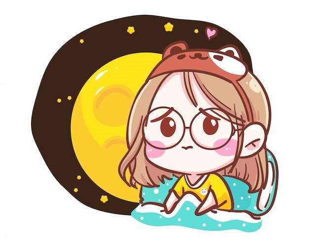 Personagem de menina triste sozinha no quarto de cama em fundo branco, com boa noite e tempo de depressão.