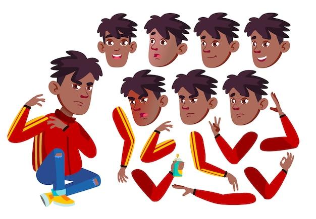 Personagem de menino adolescente. africano. construtor de criação para animação. emoções de rosto, mãos.