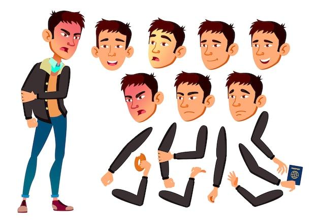 Personagem de menino adolescente. asiático. construtor de criação para animação. emoções de rosto, mãos.