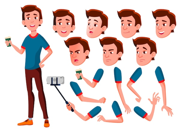 Personagem de menino adolescente. europeu. construtor de criação para animação. emoções de rosto, mãos.