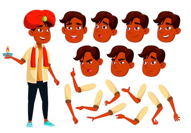 Personagem de menino adolescente. indiano. construtor de criação para animação. emoções de rosto, mãos.