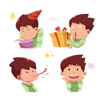 Personagem de menino bonito comemorar festa de aniversário